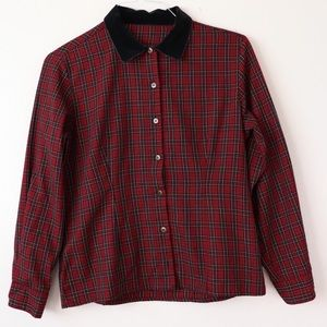 Vintage Plaid Button Up Velvet Collared Shirt